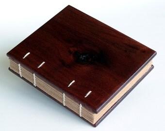 Small Wooden Book, Black Walnut, Wooden Journal, Walnut Guest Book