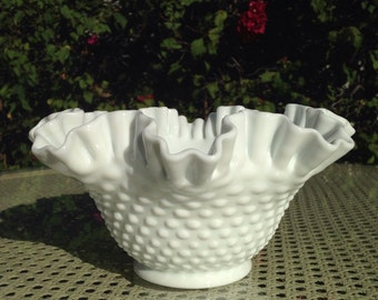 Milk Glass Hobnail Fruit Bowl