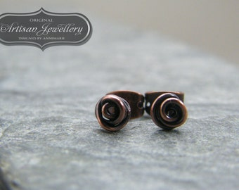 Rose stud earrings ~ Antique copper ~ Wire wrapped ~ Handmade studs ~ Copper jewelry ~ Unique gift for sister ~ Birthday gift for her ~