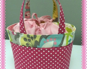 Lunch Bag, Small Tote, Pink Polka Dots and Flowers