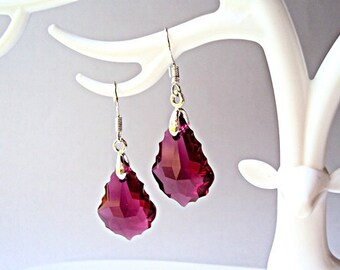 Swarovski Ruby Pink Earrings  Hot Pink Earrings  Raspberry Pink Earrings Swarovski Crystal Earrings Sterling Silver 925 Ready to ship