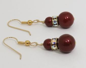 Swarovski Pearl Earrings, Gold, Bordeaux Red Earrings, Burgandy Pearl Dangle Earrings, Burgandy Earrings