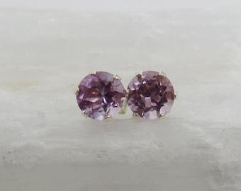 Genuine Amethyst Stud Earrings, Sterling Silver, 6 mm, Brazilian Amethyst Studs, Light Purple Studs, February Birthstone