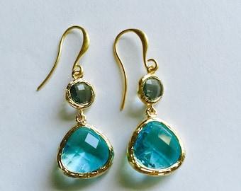 Sea Blue glass drop earrings