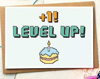 Funny Birthday Card - Level Up - Gamer Birthday Card - Geek Card - Best Friend Card - Boyfriend Card - Nerd Card - Funny Greeting Cards