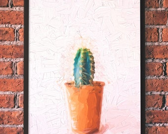 Original Oil Painting on Canvas, Hand Painted, Cactus, Minimalsim, Wall Art, Home Decor, Modern Art, Fine Art