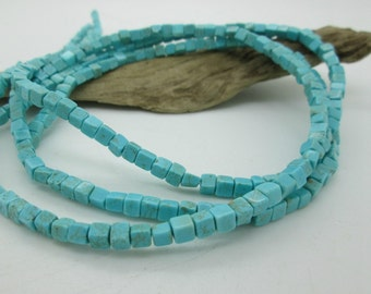 """Blue Mexican Turquoise Cube Beads, 4mm each, Genuine Turquoise Beads, (8"""" loose, 48 beads)"""