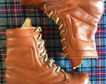Vintage Men's Size 6 1/2 Leather Alpine Hiking Boots with Wool Lining