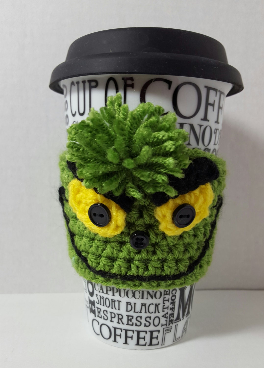 Crochet Grinch Inspired Coffee Cup Cozy Sleeve Ready To
