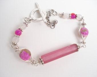 Gemstones Beaded Pastel Pink Wire  Wrapped  Bracelet  Boho Modern Bracelet