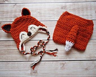 Little Fox Earflap Beanie and Matching Diaper Cover in Available in Newborn to 12 Month Size- MADE TO ORDER