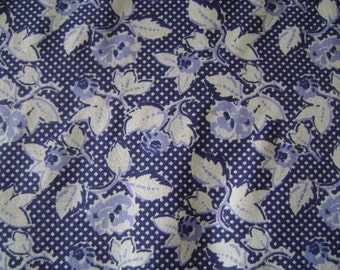 Dark Blue Floral Cotton Fabric Sold by the Yard