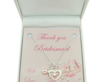Thank You Gift for Bridesmaid or Flower Girl, Heart & Pearl Necklace in Gift Box.