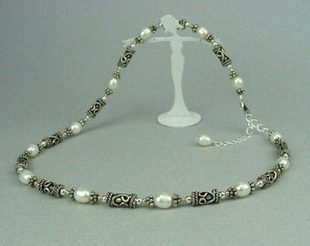 925 Bali Sterling Silver Genuine 6mm White Rice Pearl Necklace