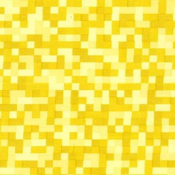 Bitmap pixels in yellow michael miller cotton fabric for Minecraft fabric by the yard