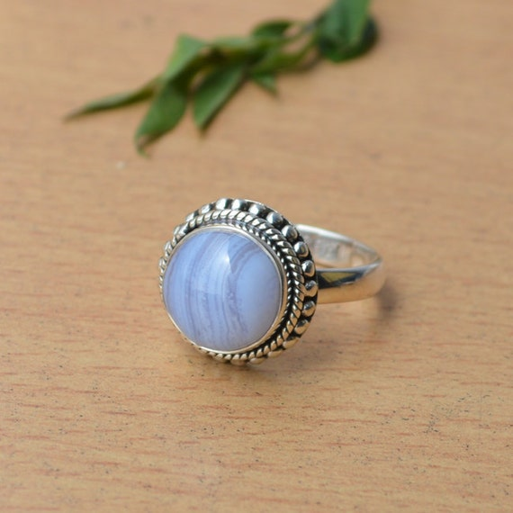 Natural Blue Lace Agate Ring, 925 Sterling Silver Ring, Blue Agate Ring, Designer Ring, Cabochon Blue Stone Ring, Gift For Her Size 9