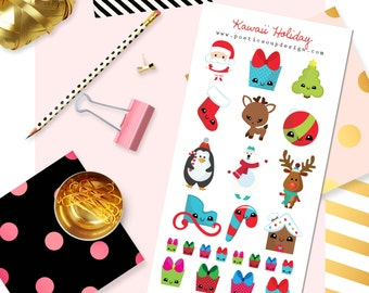 Holiday Stickers, Planner Stickers, Kawaii Christmas Stickers, Erin Condren, Christmas Stickers, Agenda, Planners , Kawaii, Stickers
