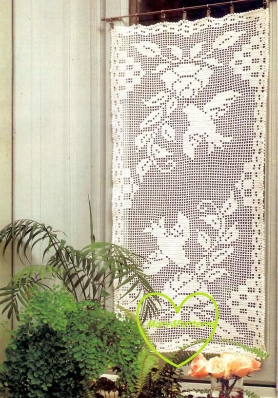 Pdf crochet pattern curtains tend or runner crochet - Crochet mural vintage ...