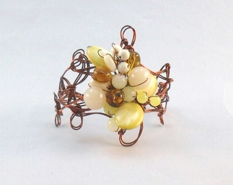 Antique Copper Bracelet with Highlights