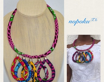 Artisan necklaces,Pink African Necklace, Statement necklace,Ankara Jewelry,Afrocentric Jewelry,Boho shop,Handmade necklace,Bib necklace