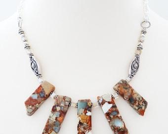 Statement Necklace, Jasper Necklace, Agate Necklace, Gemstone Necklace, Beaded Necklace, Pendant Necklace, Agate Necklace, Bib Necklace