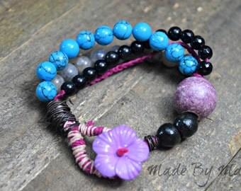 Boho Assemblage Bracelet, Gemstone Bracelet, Rustic, Eco Friendly, Gypsy, Multistrand Bracelet, Bohemian Jewelry, Beaded, Funky, Blue Purple