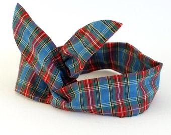 Blue Tartan Dolly Bow Headband, Wire hairband, Rockabilly, 50s headband, Tartan Headband