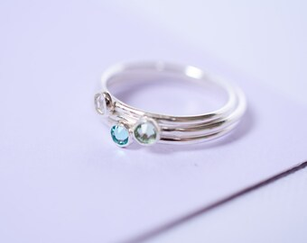Silver Swarovksi Crystal Ring // Sterling Silver Birthstone Ring // Silver Swarovski Ring // Silver Crystal Stacking Ring