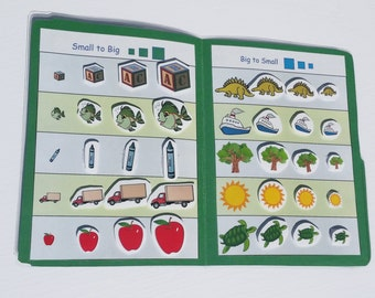File Folder Game, Size Sorting Activity, Preschool, Kindergarten, Laminated with Velcro, Matching Travel Activity