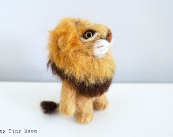 Yellow Felted Lion, Needle Felted Lion, Lion ,Cute Lion, Needle Felted Animal, Felt Lion, Felt Animal,Needle felted, Felted Animal