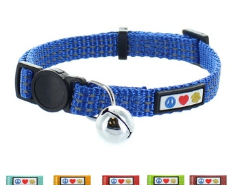 Pawtitas Pet Reflective Cat Collar with Safety Buckle and Bell