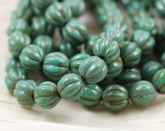 25pcs 8mm Turquoise Picasso Melons Czech Glass Beads. Summer beads. bold natural color