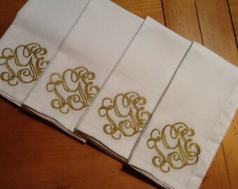Custom Monogrammed Embroidered Cloth Napkins Set of 4