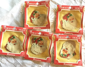 Vintage Dennison Christmas Seals 12 Santa; Scrapbooking, Collages and Paper crafting