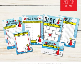 Snoopy Baby Shower Game Pack • Digital Download
