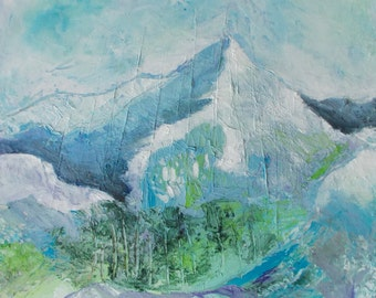 Abstract Mountains Landscape Original Oil Painting. Square Palette knife HD canvas bars Pastel colors 20x20 gallery stretched. Blue, green