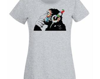 Banksy Monkey With Headphones Womens T-Shirt / Colorful Chimp Head Listening to Music Earphones / Street Art Graffiti Shirt + Free Decal