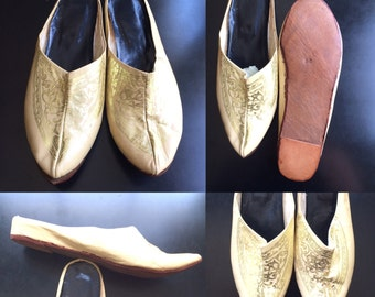 Vintage Leather Babouche Moroccan Slippers size 11