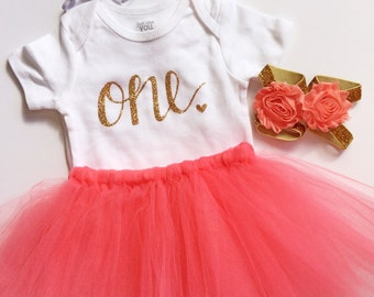 Coral first birthday outfit - coral - birthday outfit - birthday collection