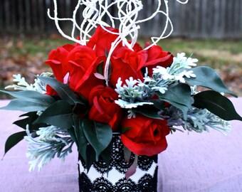 Wedding Centerpiece, Silk Floral Arrangement, Rose Centerpiece, Wedding Decor, Wedding Decoration, Red Rose Centerpiece, Rose Wedding Decor