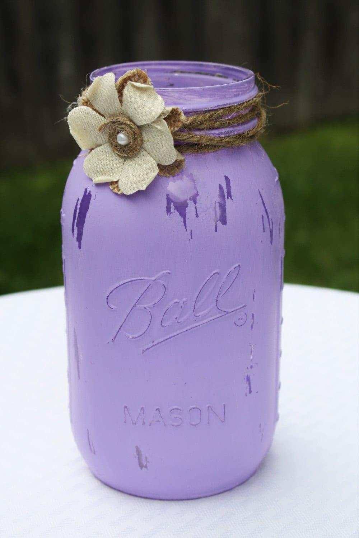 Mason jar distressed purple lavender