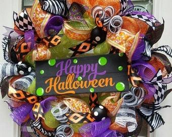 Deco Mesh Happy  Halloween Wreath~Halloween Door Wreath~ Front Door Wreath~ Halloween Decor~ Halloween Decoration~Orange&Black Wreath