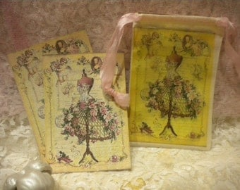 Shabby Chic Vintage Paris  Note Cards in Muslin Bag with Drawstrings