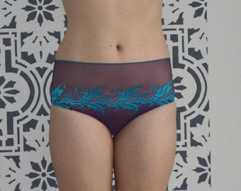 purple and turquoise panties, High waist purple and turquoise lace panties, romantic everyday briefs