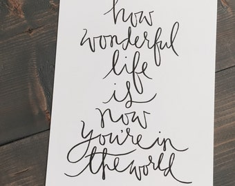 How Wonderful Life is Print 8.5x11 black on white