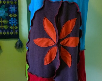 Upcycled bright 'Jester' waistcoat with flower and beads hippy quirky