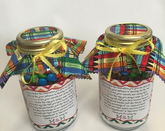 End of the Year Teacher Appreciation M&M Mason Jar Cookie Mix