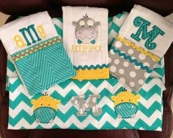 Personalized Baby gift set, car seat cover and 3 burp cloths