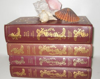 4 Vintage Decoratived Books/Russian Literature