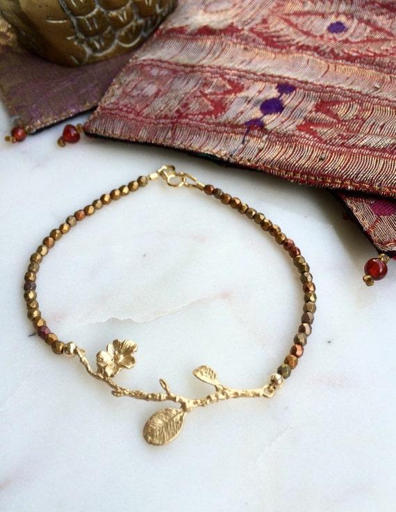 Delicate modern romantic gold leaf beaded bracelet, bronze, gold, copper metalic bracelet,